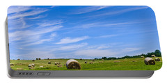 Hay Bales Under Brilliant Blue Sky Portable Battery Charger