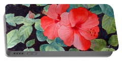 Hibiscus Portable Battery Charger by Laurel Best