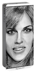Portable Battery Charger featuring the drawing Hilary Swank In 2007 by J McCombie
