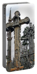 Hill Of Crosses 09. Lithuania Portable Battery Charger by Ausra Huntington nee Paulauskaite
