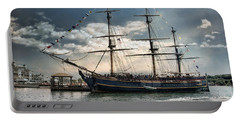 Hms Bounty Newport Portable Battery Charger by Robin-Lee Vieira