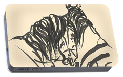 Portable Battery Charger featuring the painting Horse - Together 9 by Go Van Kampen