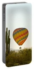Hot Air Balloon In The Arizona Desert With Giant Saguaro Cactus Portable Battery Charger