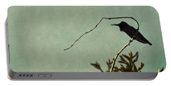 Hummingbird On Winter Wisteria Portable Battery Charger