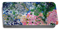 Portable Battery Charger featuring the painting Hydrangeas I by Alys Caviness-Gober