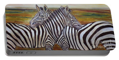 Portable Battery Charger featuring the painting I Think Its This Way by Julie Brugh Riffey