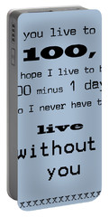 If You Live To Be 100 - Blue Portable Battery Charger