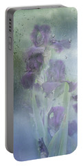 Iris In The Spring Rain Portable Battery Charger by Diane Schuster