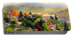 Italian Hillside Village Oil Painting Portable Battery Charger