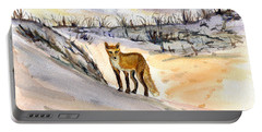 Portable Battery Charger featuring the painting Jersey Shore Fox by Clara Sue Beym