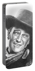 Portable Battery Charger featuring the drawing John Wayne   Dreamer by Marianne NANA Betts