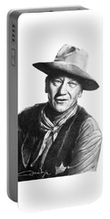 Portable Battery Charger featuring the drawing John Wayne  Sheriff by Marianne NANA Betts