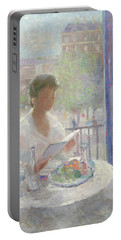 Lady Reading At An Open Window  Portable Battery Charger