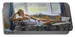 Lady With A Book Portable Battery Charger