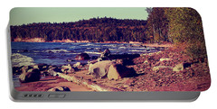 Portable Battery Charger featuring the photograph Lake Superior Shoreline by Phil Perkins