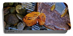 Leaves Rocks Shadows Portable Battery Charger by Bill Owen