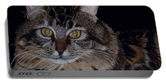 Little Girl - Maine Coon Cat Painting Portable Battery Charger