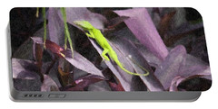 Portable Battery Charger featuring the photograph Little Green Lizard by Donna  Smith