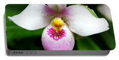 Little White And Pink Orchid Portable Battery Charger