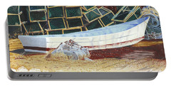Portable Battery Charger featuring the painting Lobster Traps And Dory by Dominic White
