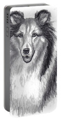 Portable Battery Charger featuring the drawing Looks Like Lassie by Julie Brugh Riffey