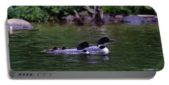 Loons With Twins 2 Portable Battery Charger