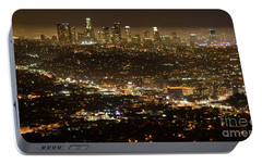 Los Angeles  City View At Night  Portable Battery Charger by Bob Christopher