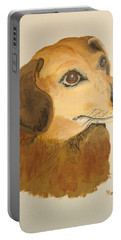 Portable Battery Charger featuring the painting Lovable Dachshund by Norm Starks