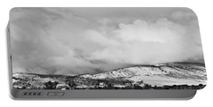 Low Winter Storm Clouds Colorado Rocky Mountain Foothills Bw Portable Battery Charger