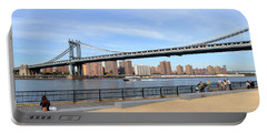 Manhattan Bridge1 Portable Battery Charger by Zawhaus Photography