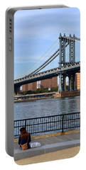Portable Battery Charger featuring the photograph Manhattan Bridge2 by Zawhaus Photography