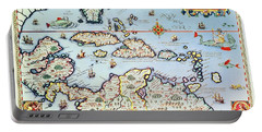 Map Of The Caribbean Islands And The American State Of Florida Portable Battery Charger