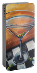 Martini On Checkered Tablecloth Portable Battery Charger