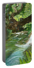 Portable Battery Charger featuring the painting Maya Ubud Tree Bali Indonesia by Melly Terpening
