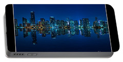 Portable Battery Charger featuring the photograph Miami Skyline Night Panorama by Carsten Reisinger