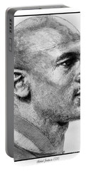 Portable Battery Charger featuring the drawing Michael Jordan In 1990 by J McCombie