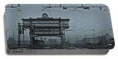 Portable Battery Charger featuring the photograph Milan Central Station Italy In The Fog by Andy Prendy