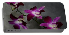 Miniature Orchids Portable Battery Charger by Karen Harrison