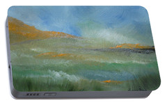 Portable Battery Charger featuring the painting Misty Morning by Judith Rhue