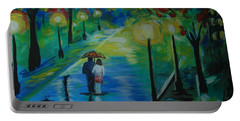 Portable Battery Charger featuring the painting Moonlight Stroll Series 1 by Leslie Allen