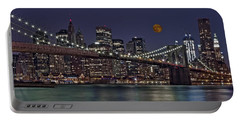 Moonrise Over The Brooklyn Bridge Portable Battery Charger