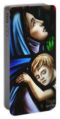 Portable Battery Charger featuring the photograph Mother And Child Stained Glass by Verena Matthew