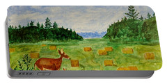 Portable Battery Charger featuring the painting Mother Deer And Kids by Sonali Gangane