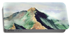 Portable Battery Charger featuring the painting Mountain  1 by Yoshiko Mishina