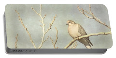 Mourning Dove In Winter Portable Battery Charger