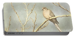 Mourning Dove In Winter Portable Battery Charger by Cindy Garber Iverson