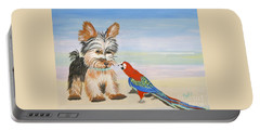 Mouthy Parrot Portable Battery Charger by Phyllis Kaltenbach