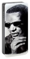 Portable Battery Charger featuring the painting Music Legend Ray Charles by Jim Fitzpatrick