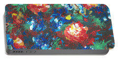 Portable Battery Charger featuring the painting My Sister's Garden II by Alys Caviness-Gober