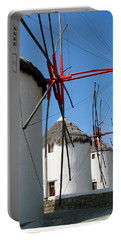 Portable Battery Charger featuring the photograph Mykonos Windmills by Carla Parris